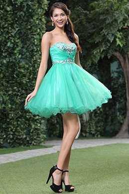 New Light Green Strapless Sweetheart Cocktail Dress (C35143304)