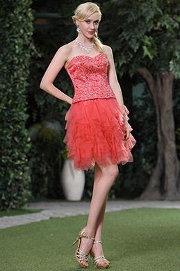 Потрясающее Коралловое Топ с Бисерами Выпускное Платье Платье на Пати (C35143457)