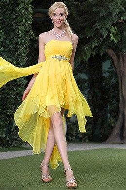 Robe de cocktail bustier jaune claire jupe asymétrique taille empire  (C35143503)