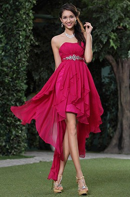 Rose Red Strapless Asymmetric Cocktail Dress Party Dress (C35143512)