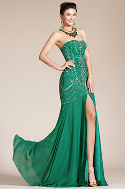 Green Strapless High Slit Evening Dress/Bridesmaid Dress (C36140304)