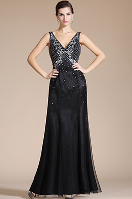 Black Sexy V-neck Beading Top Evening Formal Dress (C36140500)