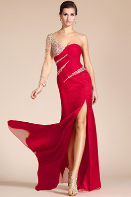 Red Sweetheart Beaded Sleeve High Split Formal Dress/Bridesmaid Dress (C36140802)