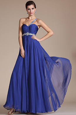 Blue One Shoulder Beadings Evening Dress/Bridesmaid Dress(C36141605)