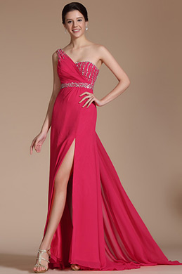 Hot Pink One Shoulder High Split Beaded Evening Dress (C36142402)