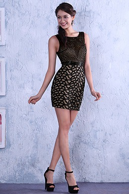 Элегантное Маленькое Чёрное без Рукава Коктейльное Платье (C35143200)
