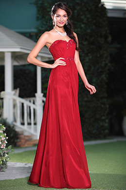 Graceful Red A-line Strapless Evening Gown Graduation Dress (C36143502)