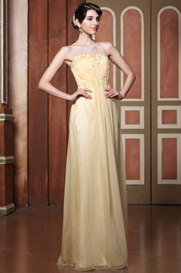 Simple Strapless A-line Lace Applique Evening Dress (C36143514)