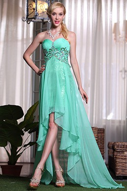 Shining Sweetheart Beaded High-Low Skirt Prom Dress Evening Gown (C36143604)