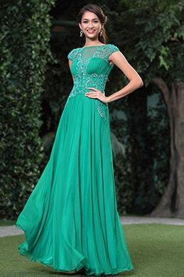 Elegant Oben Steine Sexy V Rücken Abendkleid Ballkleid (C36143904)