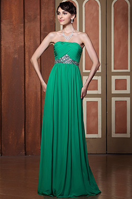Flat Strapless A-line Fully Pleated Evening Dress Formal Gown (C36144304)