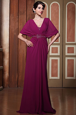 Gorgeous V Cut Cape Sleeves Formal Gown Evening Dress (C36144912)
