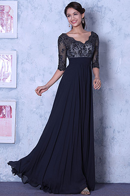Sexy V Neck Half Sleeves Navy Evening Dress Mother of the Bride Dress (C36145505)