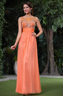 Sleeveless A-line Fully Beaded Bodice Evening Dress Prom Gown (C36145910)