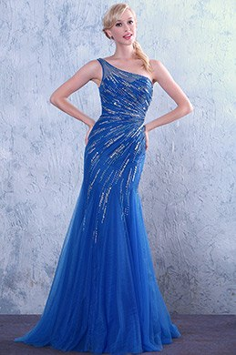 One Shoulder Neckline Blue Shiny Beaded Evening Dress Prom Dress (C36146005)