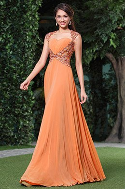 A-line Embellished Top Sexy Tulle Back Evening Dress Prom Gown (C36146110)