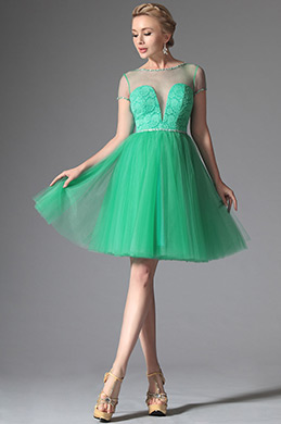 Robe de cocktail verte charmante et sexy décolleté en V (04146504)