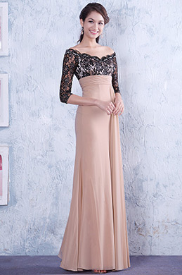 Elegant Off Shoulder Empire Waist Mother of the Bride Dress (26133546)