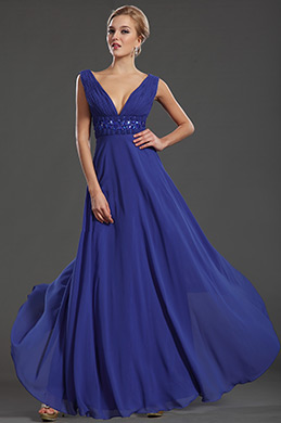Sexy Plunging V Neck Pleated Bodice Evening Dress Formal Gown (36131205)