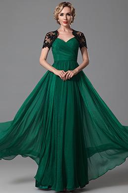 Красивое  Короткий Рукав Вечернее Платье с Оголённой Спиной (26152304)