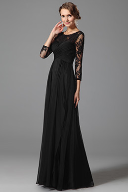 Lace Sleeves Empire Waist Black Evening Dress(00153200)