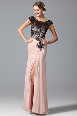 Cap Sleeves High Slit Evening Dress Prom Gown (00153001)