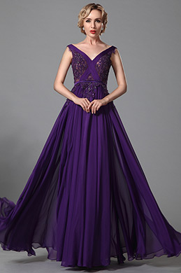 Stunning Sleeveless Purple Evening Dress Prom Gown (02152606)