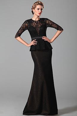 Robe mère de mariée noire péplum manches en dentelle (26150400)