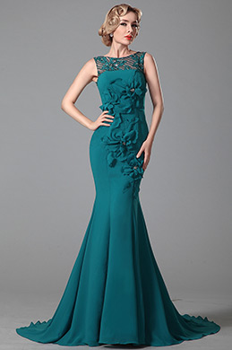 Stunning Sleeveless Floral Evening Gown Formal Dress (02150705)
