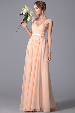 Elegant Sleeveless Lace Shoulders Peach Bridesmaid Dress (00152001)