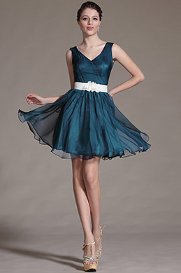 Simple V Cut Neck Floral Waist Band Bridesmaid Dress (C07140505)