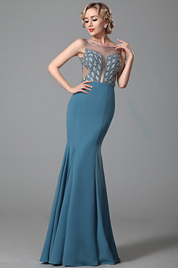 Stunning Sleeveless Beaded Bodice Evening Dress Prom Gown (02153032)