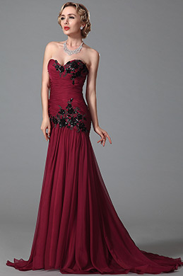 Strapless Sweetheart Evening Gown With Embroidery Applique Details (02151512)