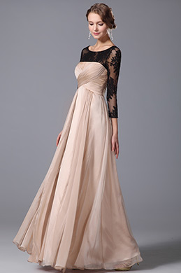 Elegant Empire Waist Evening Gown With Lace Sleeves (00153214)