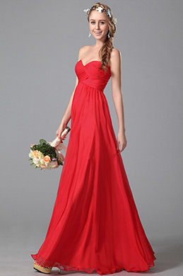 eDressit Trägerlos Süß Ausschnitt  Rot Brautjungfernkleid (07150602)
