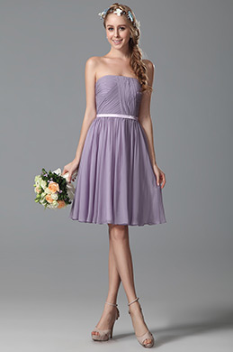 Robe demoiselle d'honneur simple bustier lilas (07150206)