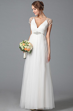 Gorgeous Short Sleeves Wedding Dress With Sparkling Beading (01150807)