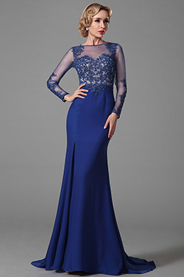 eDressit Long Sleeves Evening Gown With Lace Applique (02152005)