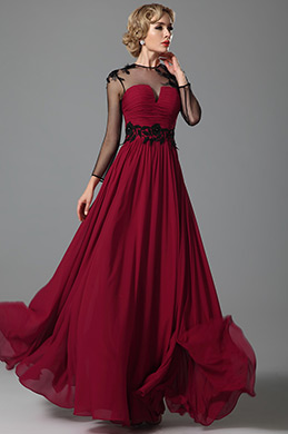 Elegant Long Sleeves Sheer Top Evening Gown (26152417)