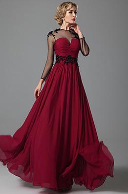 Elegant Lang Ärmel Tüll Oben Abendkleid (26152417)