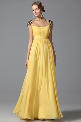 Lace Cap Sleeves Yellow Prom Dress Evening Dress (00152903)