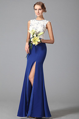 Elegant Sleeveless High Slit Blue Evening Dress Formal Gown (00151905)
