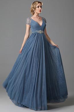 Сексуальное V Декольте Вечернее Платье Ампир с Вышиками (02152132)