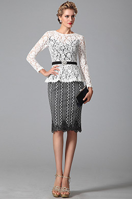 Stylish Long Sleeves Lace Mother of the Bride Dress (26150307)