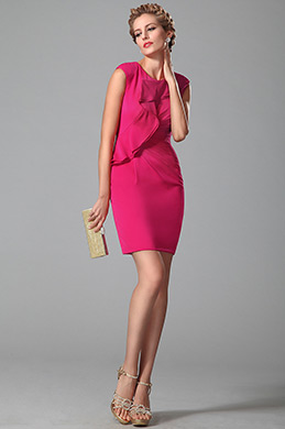Robe de ville/cocktail rose fourreau sans manche à festons (03150212)
