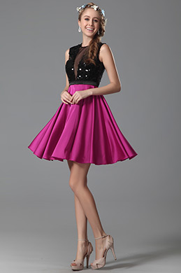 Hot Pink Ärmellos Paillette Cocktailkleid Party-Kleid (04150812)