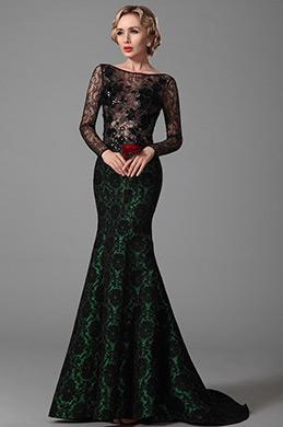 eDressit Robe de soirée sirène verte sexy en dentelle noire (02151904)