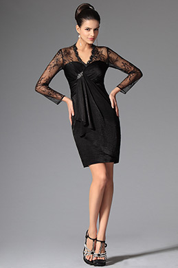 Gorgeous Short Lace Sleeves V Neck Mother of the Bride Dress (26149300)