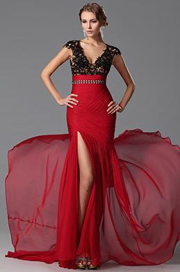 eDressit Robe soirée rouge sexy fendue dentelle col en V (00152202)