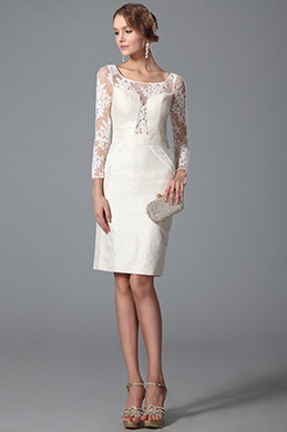 eDressit Petite robe blanche fourreau manches dentelle (03150507)